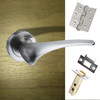 Image: Marseille Mediterranean Lever On Rose - Satin Nickel Handle Pack