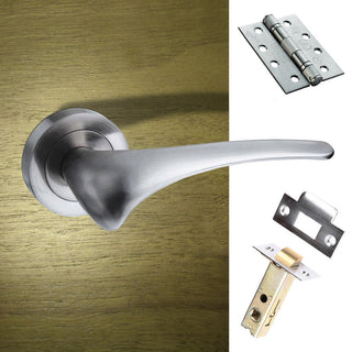 Image: Marseille Mediterranean Fire Lever On Rose - Satin Nickel Handle Pack
