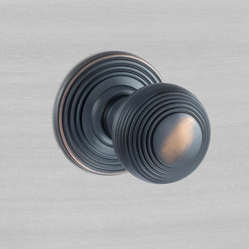 Ripon Reeded Old English Mortice Knob - Antique Copper