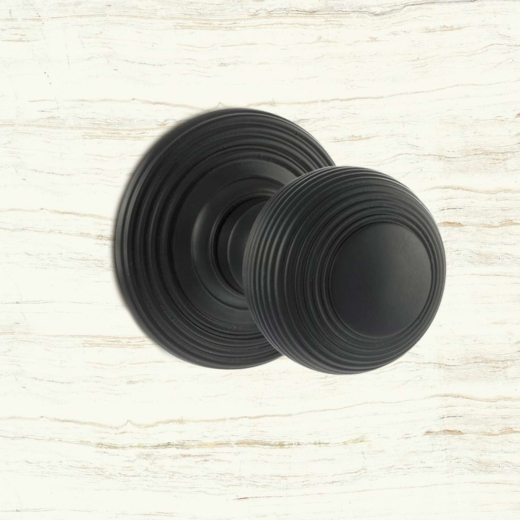 Ripon Reeded Old English Mortice Knob - Matt Black