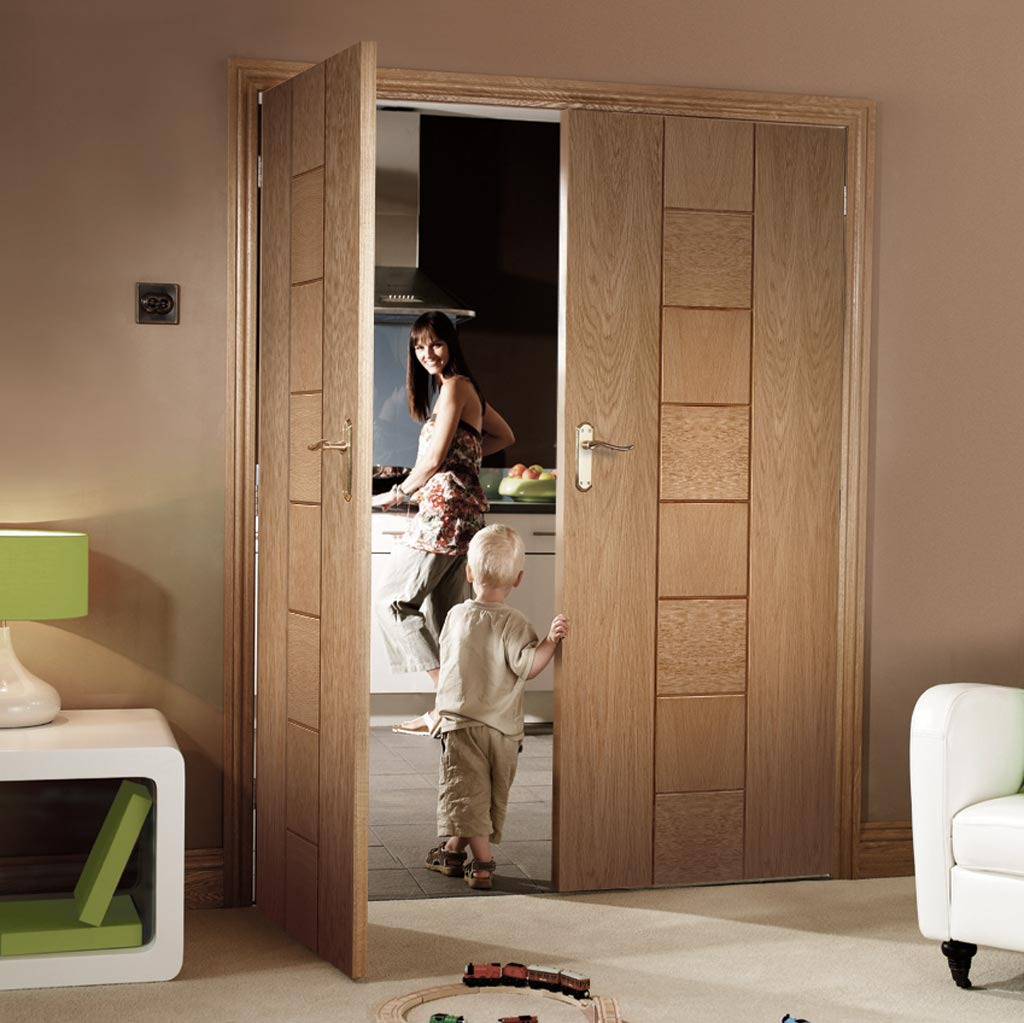 Messina Oak Flush Door Pair - Prefinished
