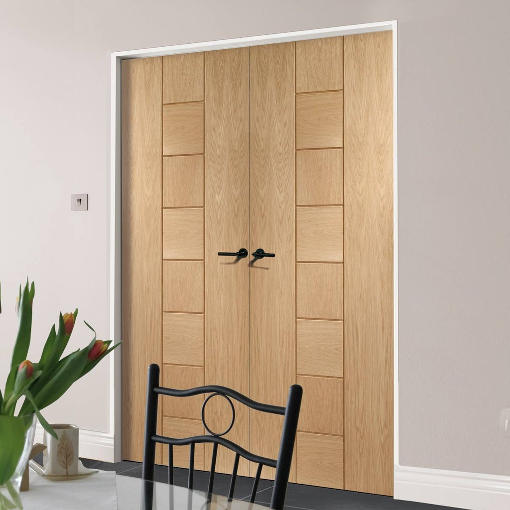 Bespoke Messina Oak Flush Door Pair - Prefinished