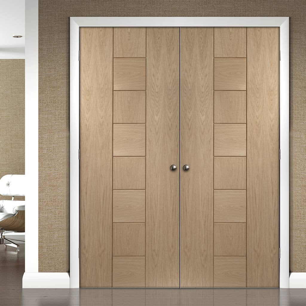 Bespoke Messina Oak Fire Door Pair - 1/2 Hour Fire Rated