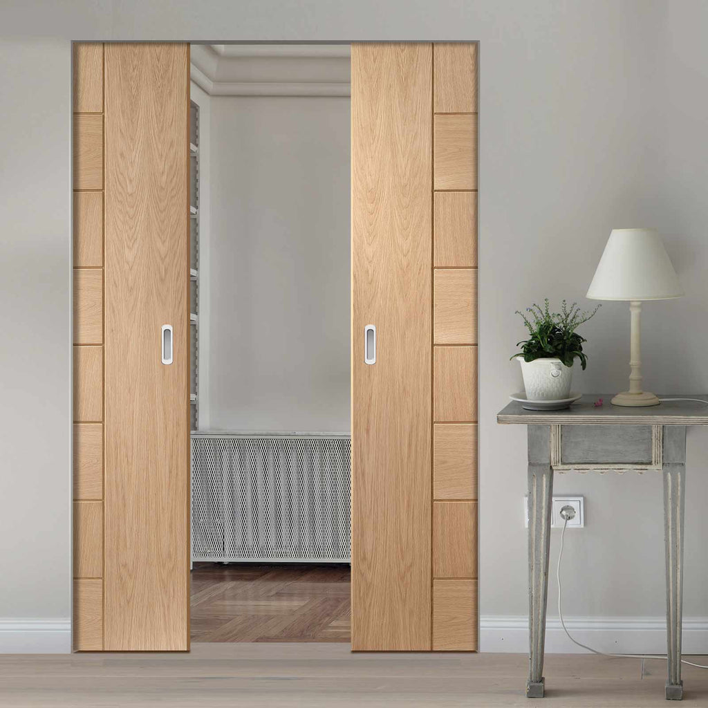 Messina Oak Flush Absolute Evokit Double Pocket Door - Prefinished