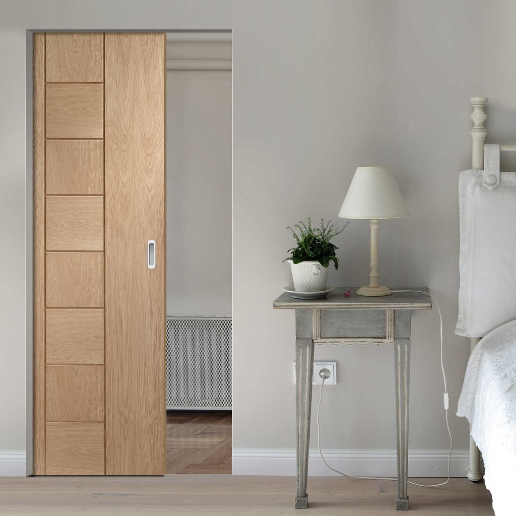 Messina Oak Flush Absolute Evokit Pocket Door - Prefinished