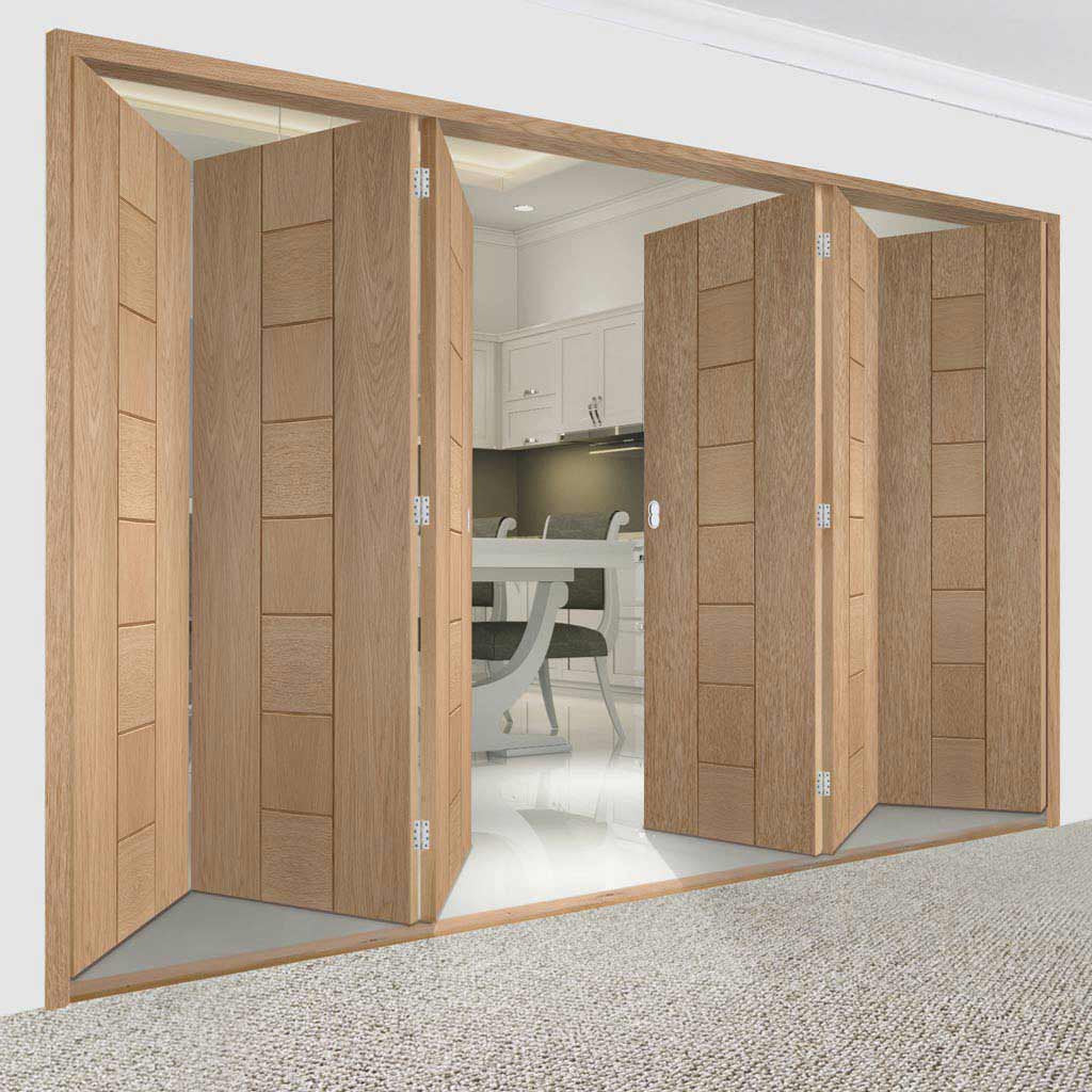 Bespoke Thrufold Messina Oak Flush Folding 3+3 Door - Prefinished