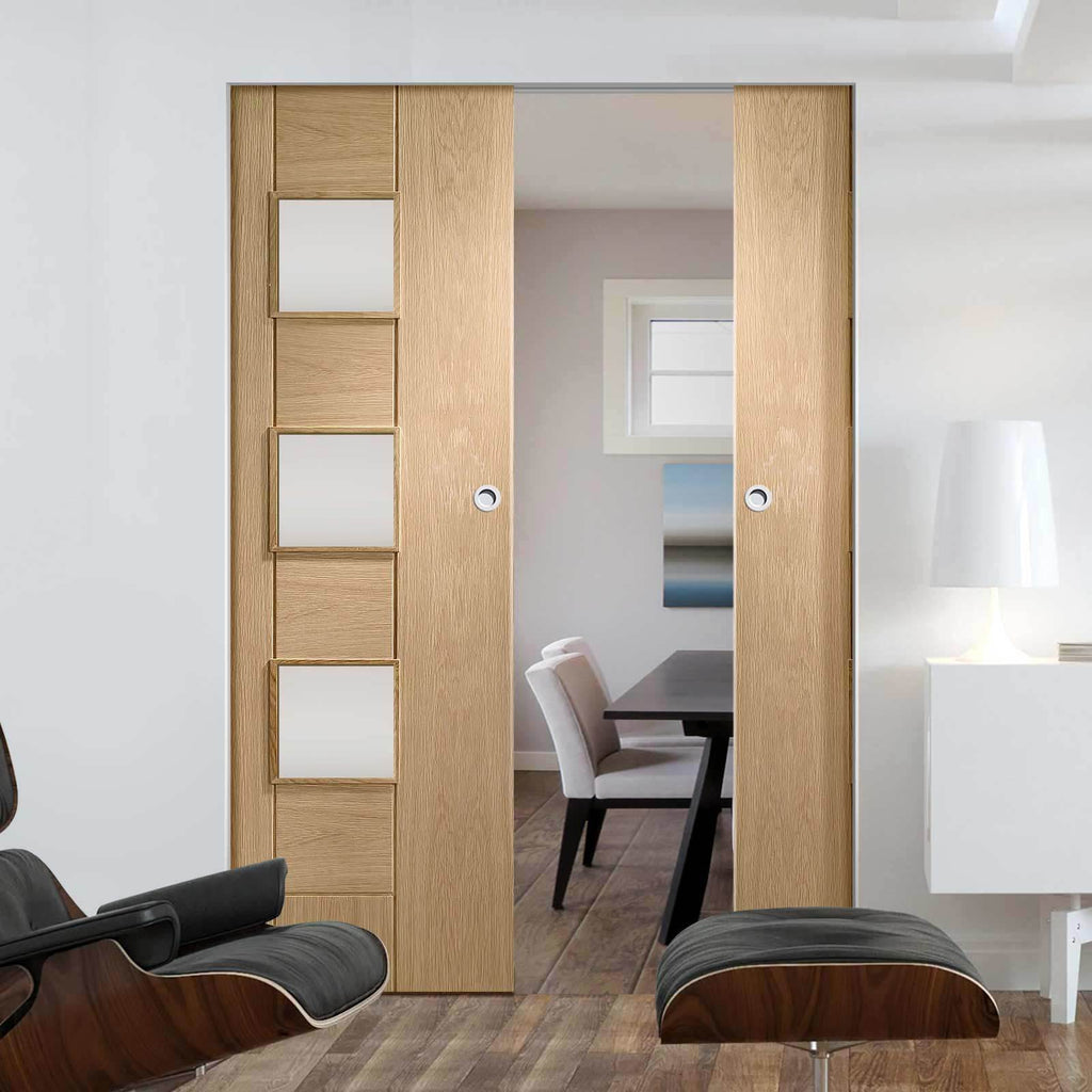 Bespoke Messina Oak Glazed Double Frameless Pocket Door - Prefinished