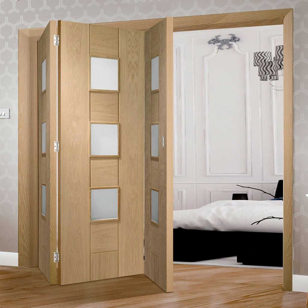 Bespoke Thrufold Messina Oak Glazed Folding 3+0 Door - Prefinished