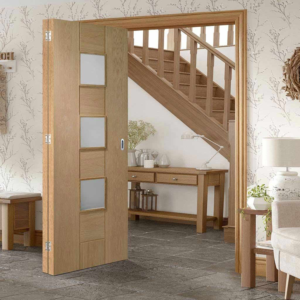 Two Folding Doors & Frame Kit - Messina Oak 2+0 - Obscure Glass - Unfinished