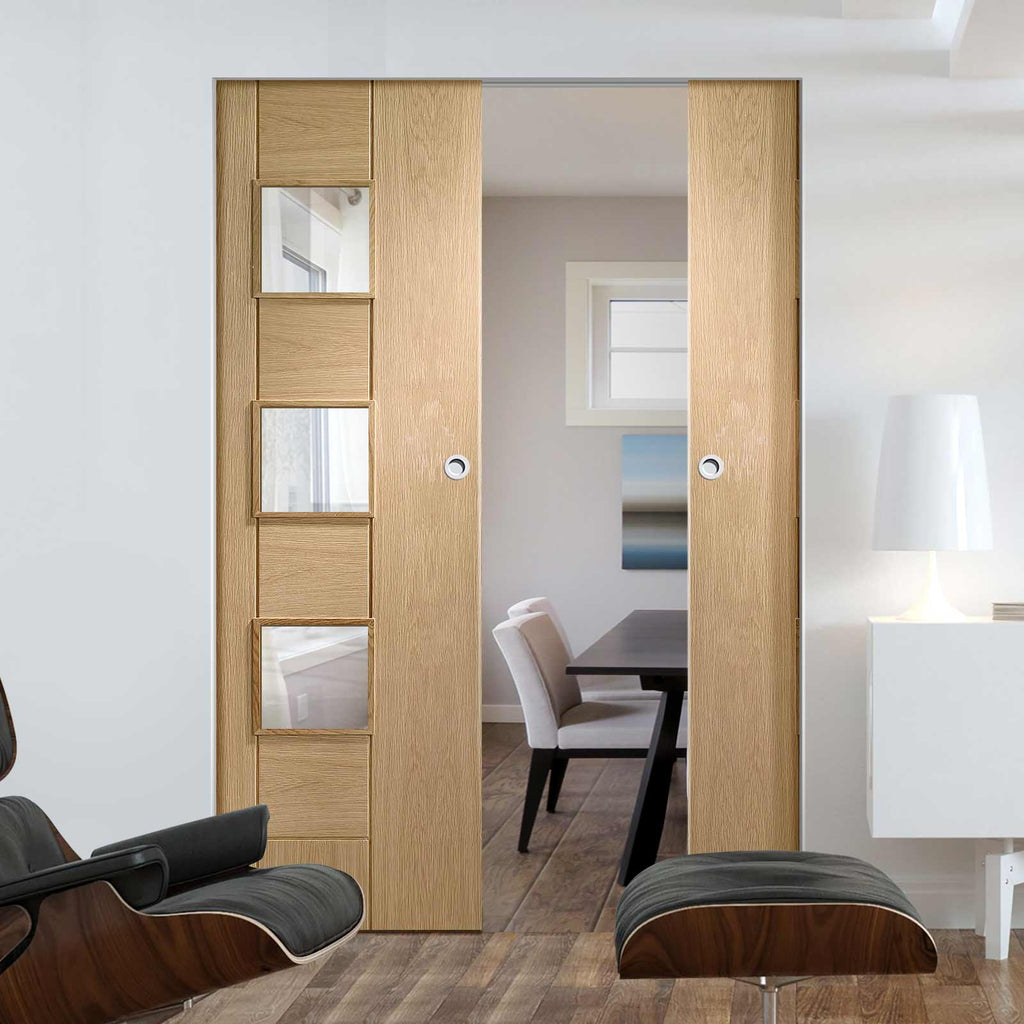 Messina Oak Absolute Evokit Double Pocket Door - Clear Glass - Prefinished