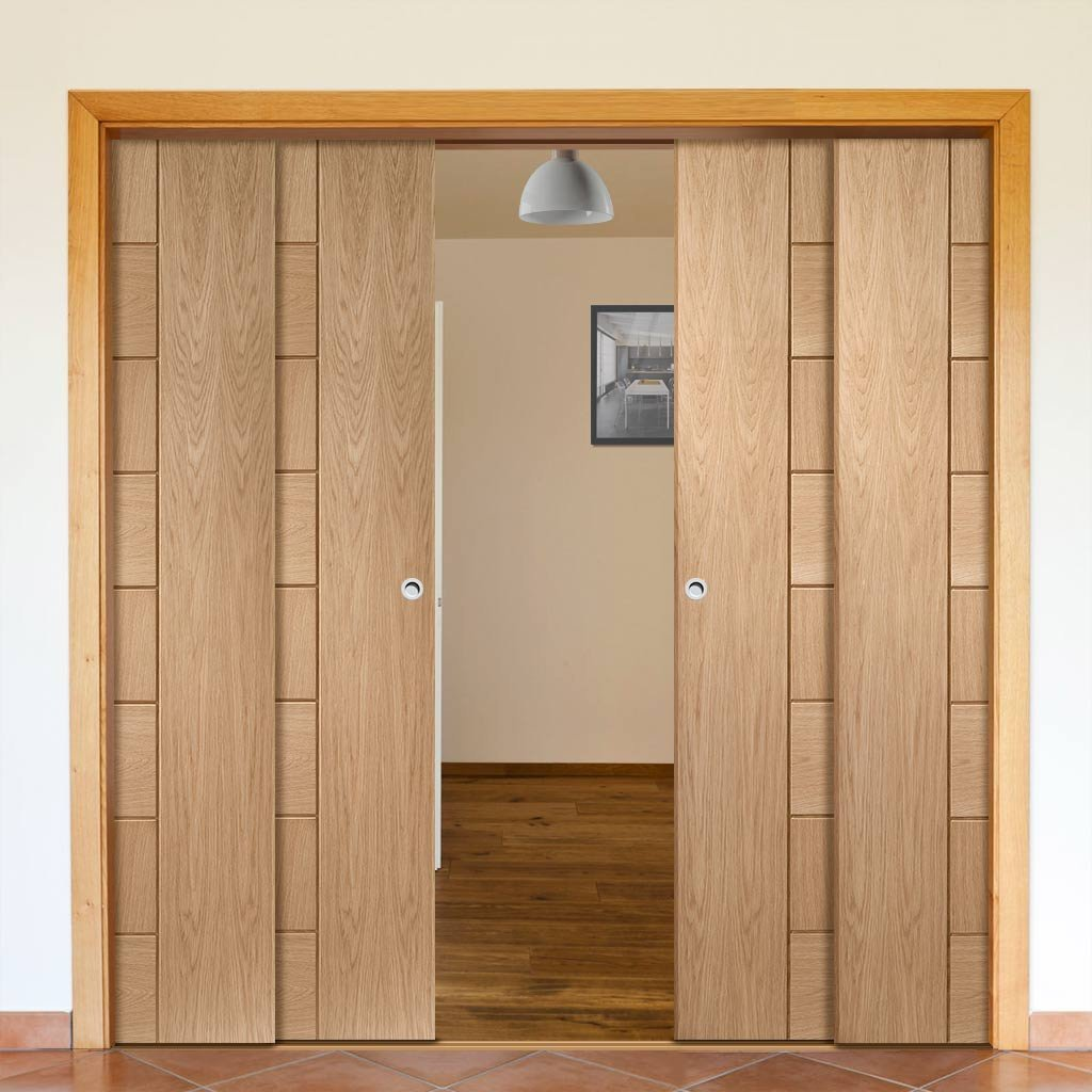 Messina Oak Veneer Staffetta Quad Telescopic Pocket Doors