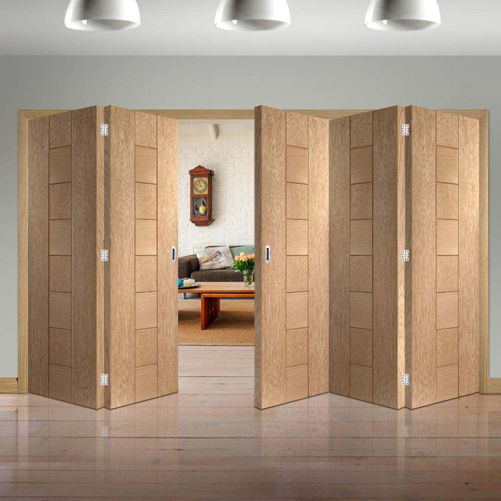 Five Folding Doors & Frame Kit - Messina Oak 3+2 - Unfinished