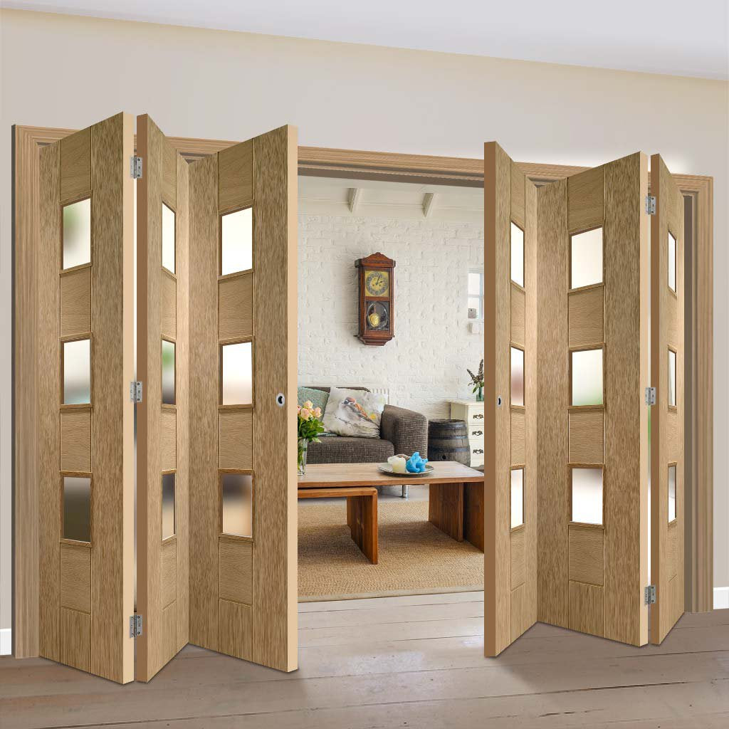 Bespoke Thrufold Messina Oak Glazed Folding 3+3 Door