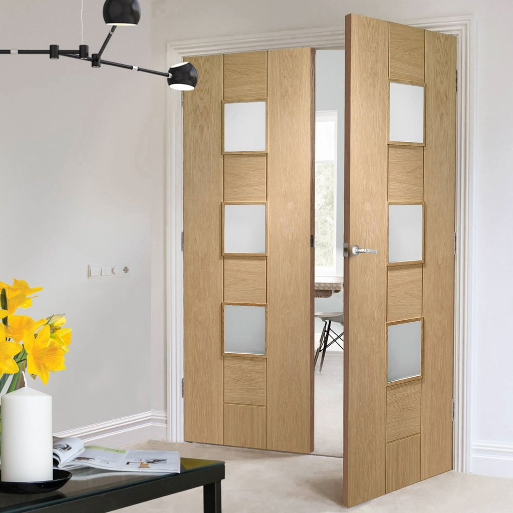 Bespoke Messina Oak Glazed Door Pair - Prefinished