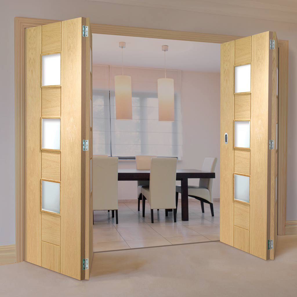 Bespoke Thrufold Messina Oak Glazed Folding 2+2 Door