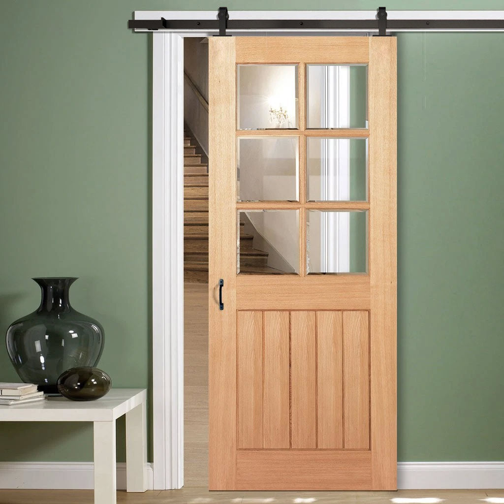 Top Mounted Sliding Track & Door - Mexicano 6 Pane Oak Door - Bevelled Clear Glass - Unfinished
