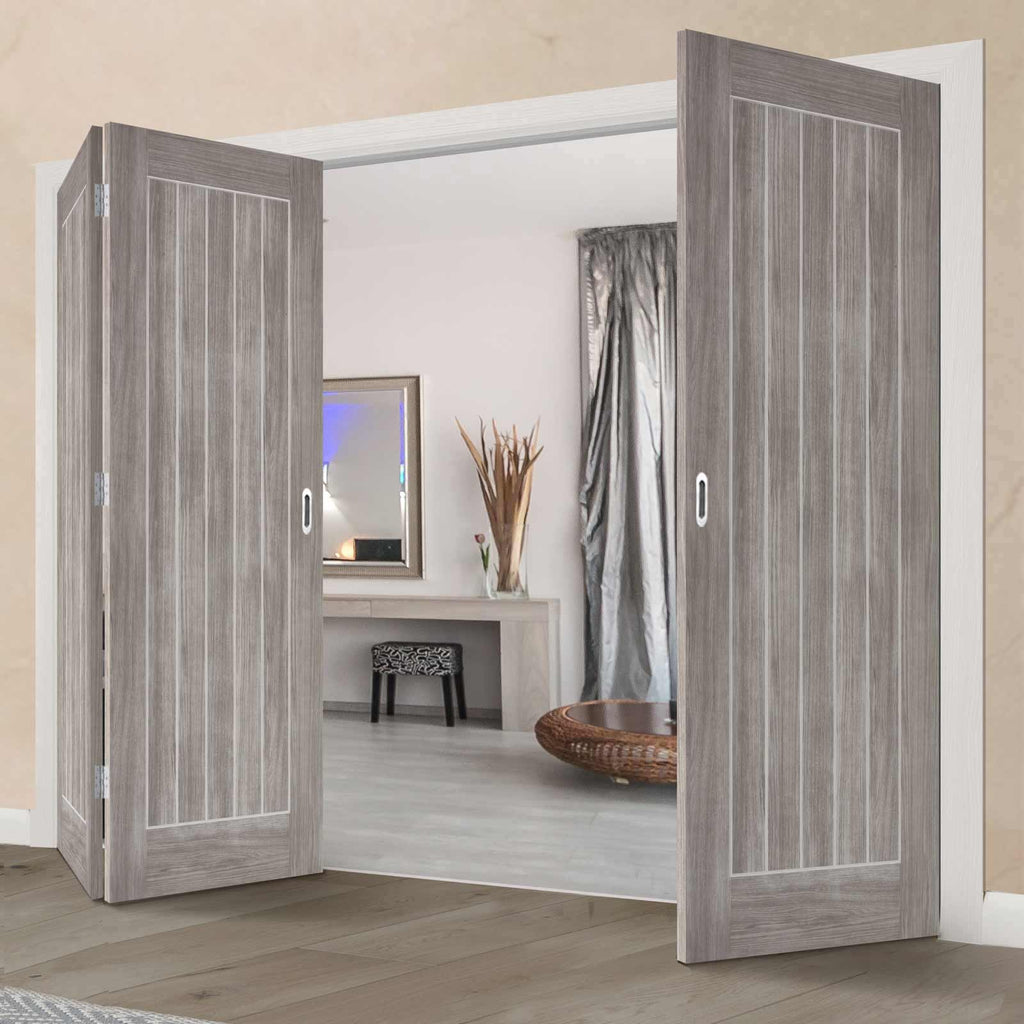 Three Folding Doors & Frame Kit - Laminate Mexicano Light Grey 2+1 - Prefinished