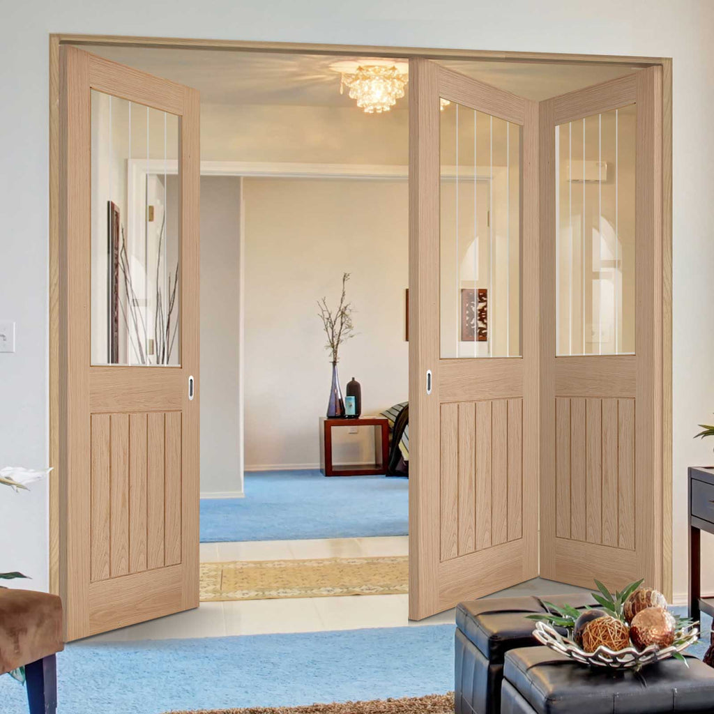 Three Folding Doors & Frame Kit - Belize Oak 2+1 Door - Silkscreen Etched Clear Glass - Unfinished