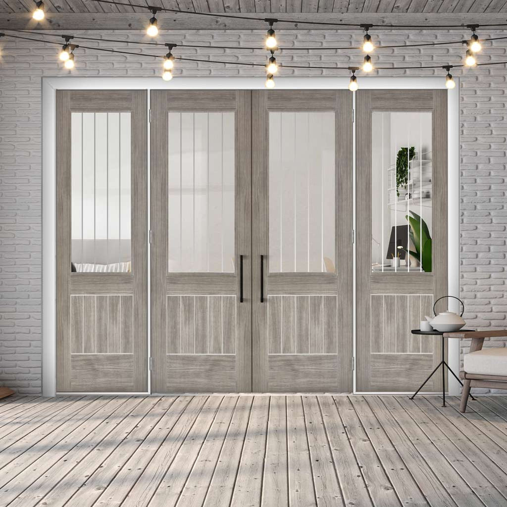 ThruEasi Room Divider - Laminate Mexicano Light Grey - Etched Clear Glass Prefinished Double Doors with Double Sides - 2018mm High - Multiple Widths