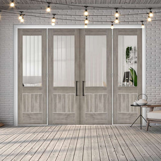 Image: ThruEasi Room Divider - Laminate Mexicano Light Grey - Etched Clear Glass Prefinished Double Doors with Double Sides - 2018mm High - Multiple Widths