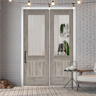 Image: ThruEasi Room Divider - Laminate Mexicano Light Grey - Etched Clear Glass Prefinished Door with Single Side - 2018mm High - Multiple Widths