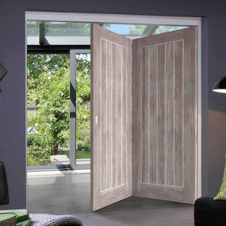 Image: Two Folding Doors & Frame Kit - Laminate Mexicano Light Grey 2+0 - Prefinished