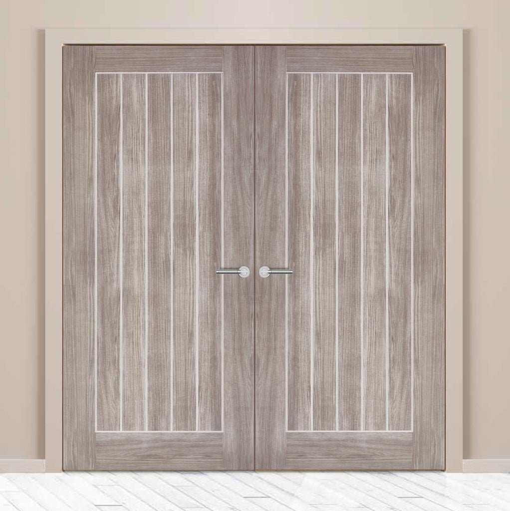 Laminate Mexicano Light Grey Door Pair - Prefinished