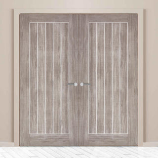 Image: Laminate Mexicano Light Grey Door Pair - Prefinished