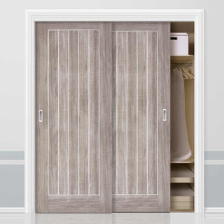 Image: Two Sliding Wardrobe Doors & Frame Kit - Laminate Mexicano Light Grey Door - Prefinished