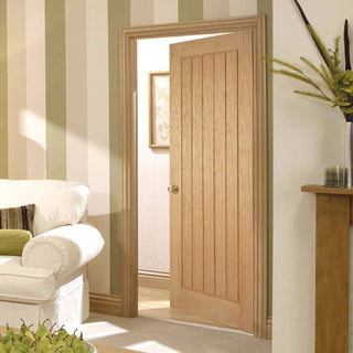 Image: Bespoke Mexicano Oak Fire Rated Door with Vertical Lining