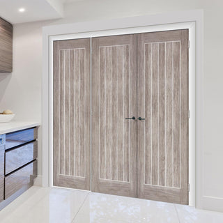 Image: ThruEasi Room Divider - Laminate Mexicano Light Grey Prefinished Double Doors with Single Side - 2018mm High - Multiple Widths