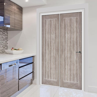 Image: ThruEasi Room Divider - Laminate Mexicano Light Grey Prefinished Door with Single Side - 2018mm High - Multiple Widths
