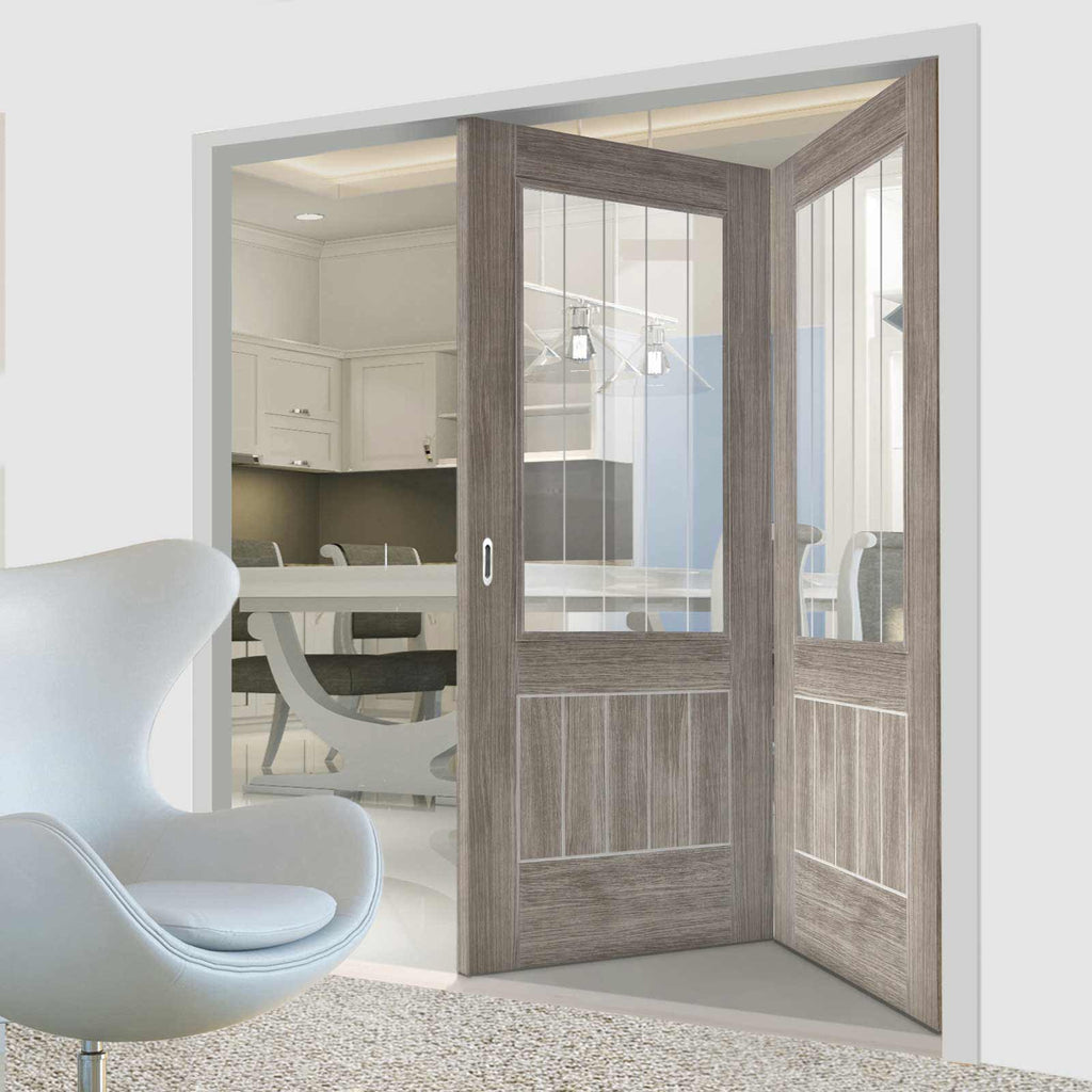 Two Folding Doors & Frame Kit - Laminate Mexicano Light Grey 2+0 - Etched Clear Glass - Prefinished