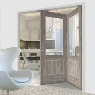 Image: Two Folding Doors & Frame Kit - Laminate Mexicano Light Grey 2+0 - Etched Clear Glass - Prefinished