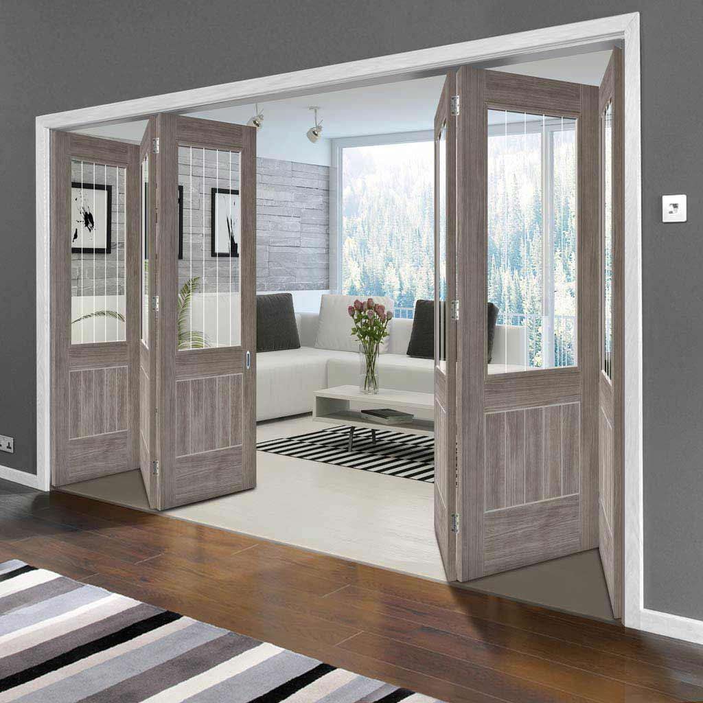 Six Folding Doors & Frame Kit - Laminate Mexicano Light Grey 3+3 - Etched Clear Glass - Prefinished