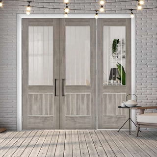 Image: ThruEasi Room Divider - Laminate Mexicano Light Grey - Etched Clear Glass Prefinished Double Doors with Single Side - 2018mm High - Multiple Widths