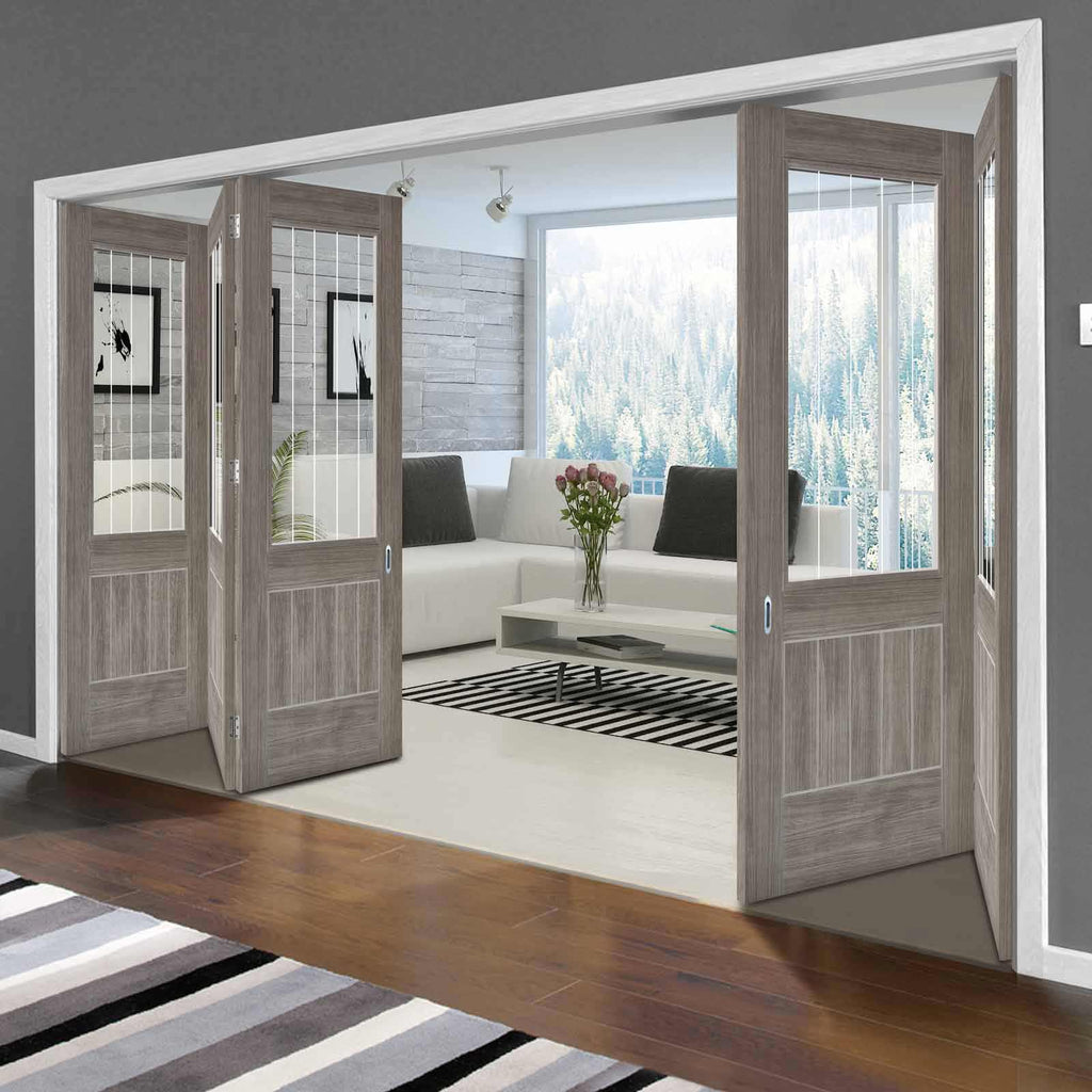 Five Folding Doors & Frame Kit - Laminate Mexicano Light Grey 3+2 - Etched Clear Glass - Prefinished