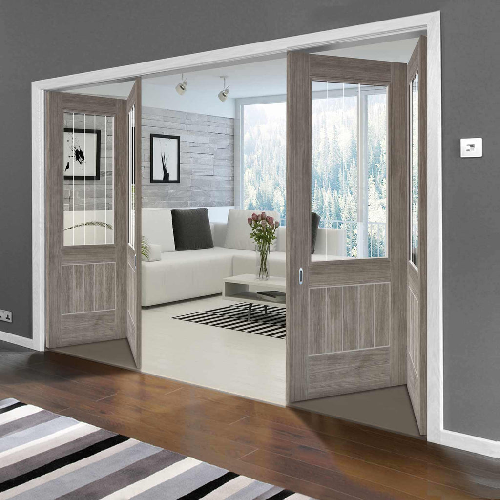 Three Folding Doors & Frame Kit - Laminate Mexicano Light Grey 2+1 - Etched Clear Glass - Prefinished