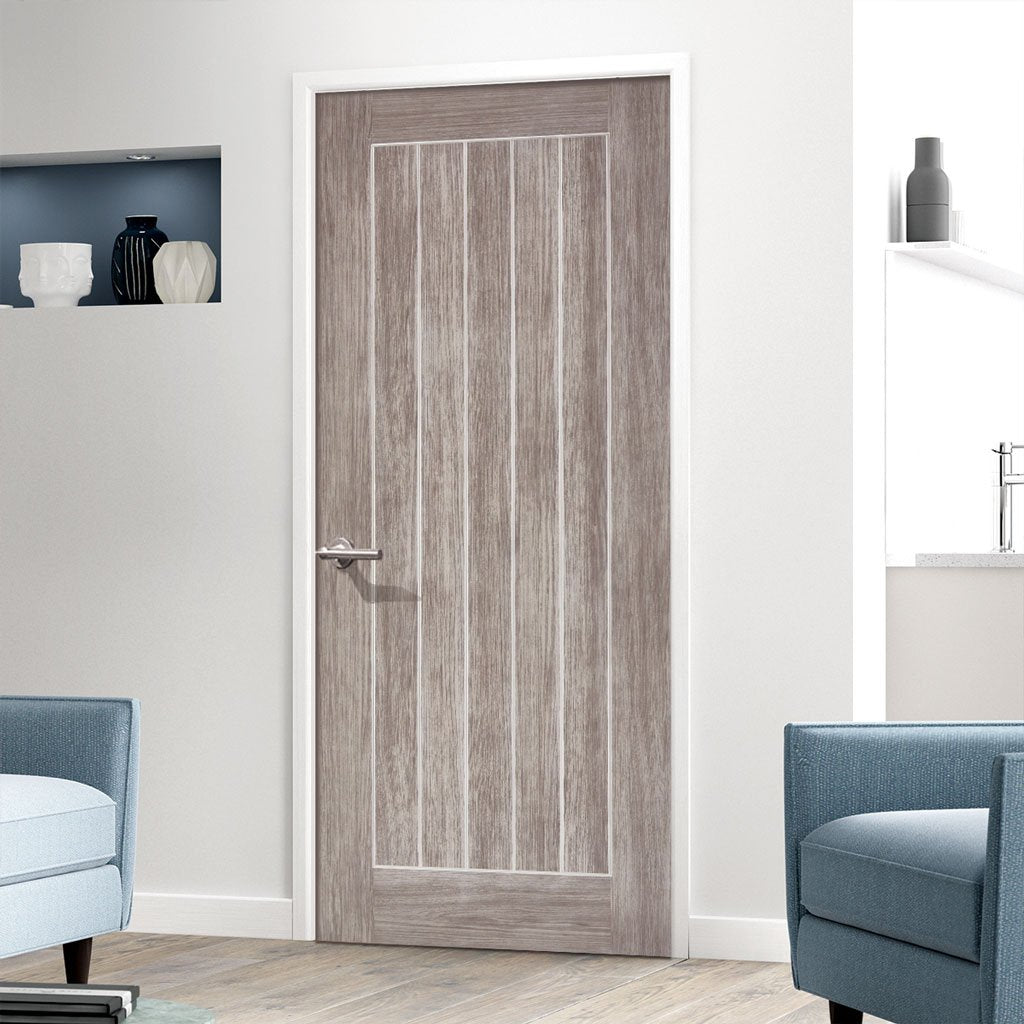Laminate Mexicano Light Grey Fire Door - 1/2 Hour Fire Rated - Prefinished