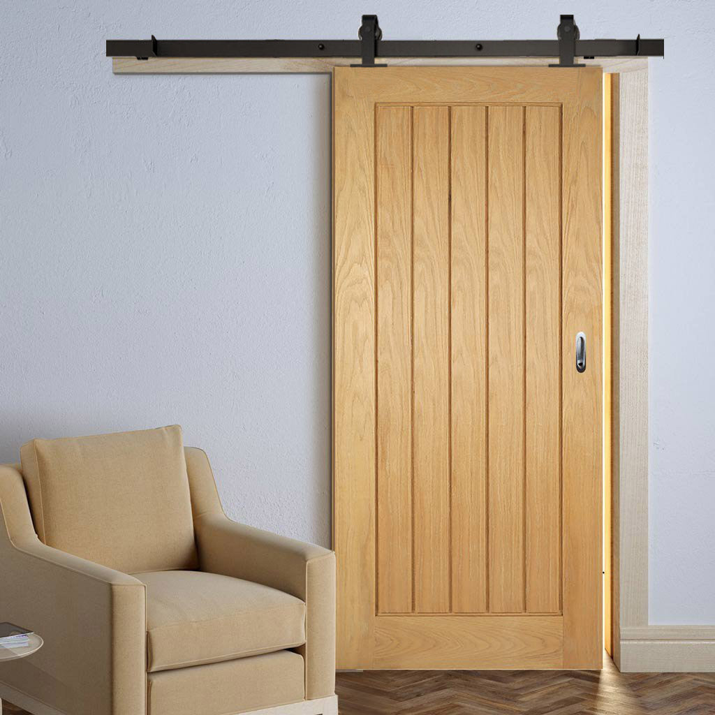 Top Mounted Sliding Track & Door - Mexicano Oak Door - Unfinished