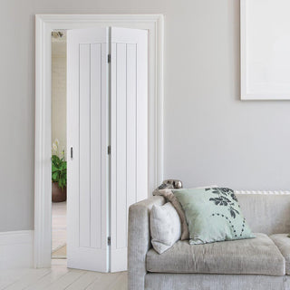 Image: Mexicano Flush Bifold Door - White Primed