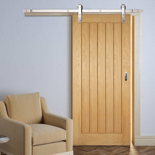 Image: Thruslide Traditional Mexicano Oak Sliding Door - Vertical Lining - Prefinished