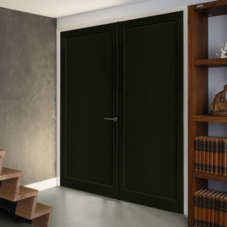 Image: Bespoke Industrial Style 1 Panel Door Pair WK6351 - 95mm - 4 Prefinished Colour Choices
