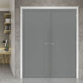Image: Bespoke Industrial Style 1 Panel Door Pair WK6301 - 80mm - 4 Prefinished Colours Choices