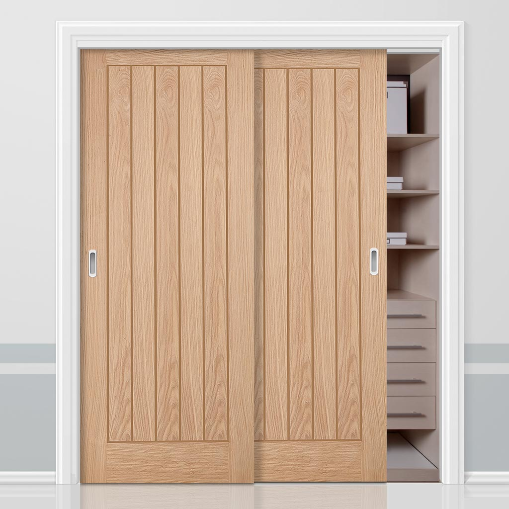 Minimalist Wardrobe Door & Frame Kit - Belize Oak Door - Unfinished