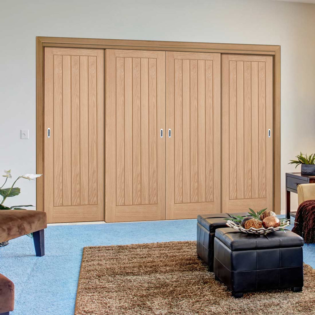 Minimalist Wardrobe Door & Frame Kit - Belize Oak Door - Prefinished
