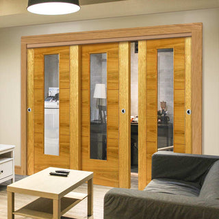 Image: Thruslide Brisa Mistral Flush Oak 3 Sliding Doors and Frame Kit - Decor Grooves - Clear Glass - Prefinished