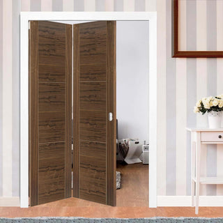 Image: Thrufold Mistral Walnut 2+0 Folding Door - Prefinished