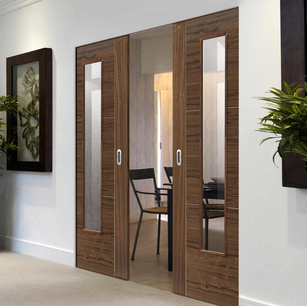 Mistral Walnut Absolute Evokit Double Pocket Doors - Clear Glass - Prefinished