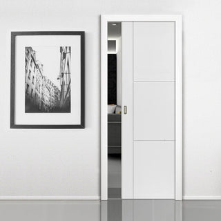 Image: Limelight Mistral Flush Evokit Pocket Fire Door - 30 Minute Fire Rated - White Primed